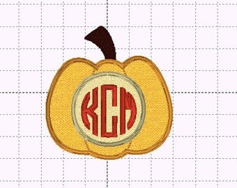Pumpkin Circle Monogram Applique Applique - INSTANT DOWNLOAD - Embroidery Design - Sizes 4x4, 5x7, 6x10 - Halloween - Thanksgiving - Fall