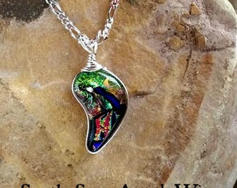 Ashes in Glass, Angel Wing Memorial Pendant in Sterling Silver, pet memorial,cremation jewelry