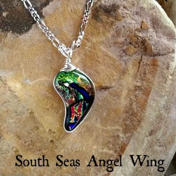 Memorial Angel Wing Necklace with Ashes in Glass mounted in Sterling Silver