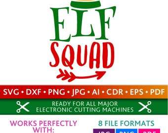 Elf Squad Svg Elf Squad Cut Files Christmas Silhouette Studio Cricut Svg Dxf Jpg Png Eps Pdf Ai Cdr