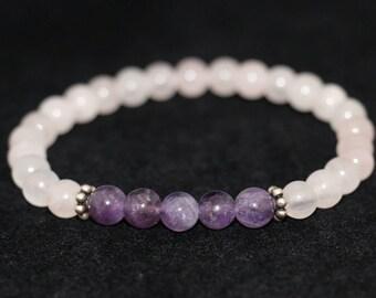 No. 16 Rose Quartz, Amethyst and Sterling Silver Bracelet (Hand Made)
