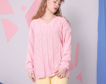 cable knit sweater MARCEL CLAIR, chunky knit cotton sweater, vintage pink pullover, slouchy oversized kawaii sweater, plus size vintage