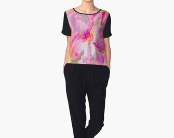 Blouse - Floral top - Floral blouse - Pink Top made of Chiffon - Enjoy FREE Shipping