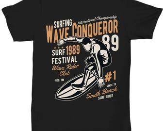 Surfing Wave Conqueror 1989 Surf Festival T-shirt