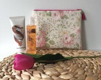 Pink Roses/ Wash Bag / Makeup Bag / Toiletry bag / Travel bag