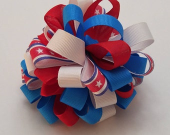 Stars and stripes hair bow
