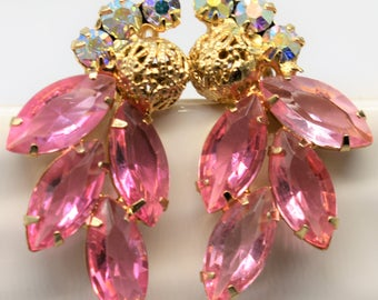 Pink Rhinestone and Aurora Borealis Rhinestone Gold Tone Clip Earrings