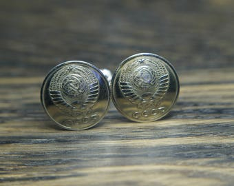 USSR cuff links , coins cuff links, unusual cuff links,  USSR gift, wedding cufflinks, Russian gift, wedding accessory, dad gift