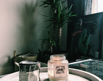 8 oz Pure Soy Wax + Fragrance & Essential Oil Candles in Glass Jar with Metal Lid