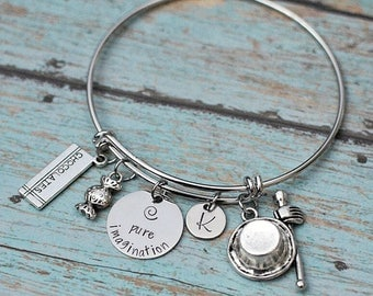 Hand stamped initial bracelet - pure imagination - Willy Wonka and the Chocolate Factory inspired - chocolate bracelet - stacking bracelet