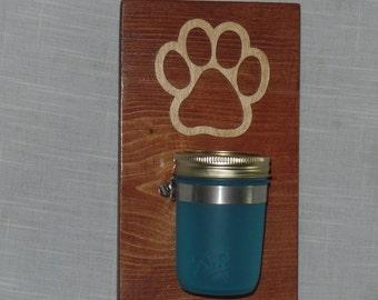 Puppy Paw Sea Glass Treat Jar with Dog Leash Hooks