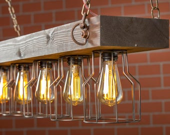 Cage Light, Wood Lİght, Farm Light, Barn Light, Industrial Light, Rustic Lighting, Reclaimed Wood Light, Ceiling Light, Wood Fixture, Light