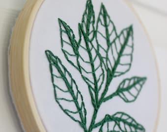 "Green Leaf Embroidery 4"" Hoop Art"
