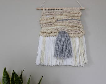White & Grey Woven Wall Hanging
