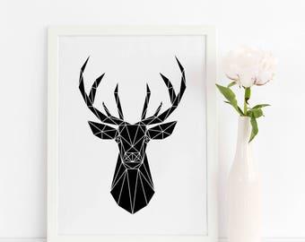 Deer Print / Deer Head / Forest Print / Geometric Animal / Deer Poster / Animal Print / Scandinavian Animal / Instant Download