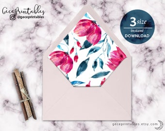 Pink & Navy Printable Envelope Liner | Watercolor Floral Liner | Euro A7, A2, A1 | DIY | |nstant Download | Gece Printables