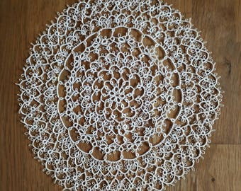 """Round Tatted Doily Antic 7.5"""" 19 cm  Handmade Vintage Antique Tatting doilies"""