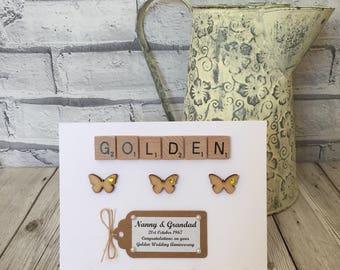 Personalised Golden Wedding Anniversary Card, Golden Anniversary Card