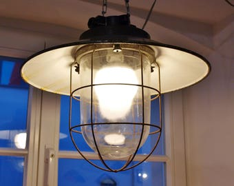 Czech industrial factory lamp vintage Czech industrial lamp factory