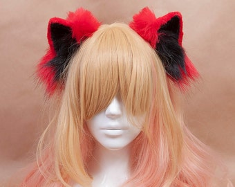 Red and Black Kitty Fur Ears Headband