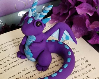 Purple and Blue Pearl Polymer Clay Dragon