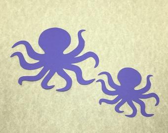 25 Cardstock Die Cut Octopus Cut Outs