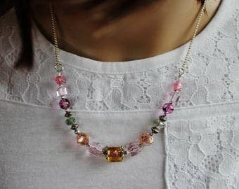 PINK STATEMENT NECKLACE, Pink Rose Topaz,Lampwork Bead Jewelry,Handmade, Chain Necklace, Statement Necklace, Gemstone Necklace Gift For Her
