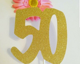 50 Cake Topper,50th Birthday,Number cake topper