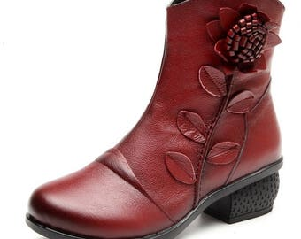Shoes Woman Flower Genuine Leather Ankle Boots