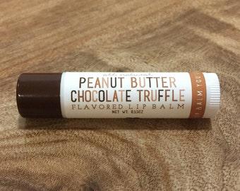 PEANUT BUTTER CHOCOLATE Truffle Lip Balm - All Natural - Homemade