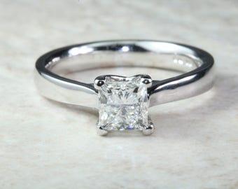 Platinum 1 carat Moissanite Solitaire. 6.00mm Princess Cut Moissanite Diamond Solitaire. Forever Classic Moissanite Ring.DEF Color
