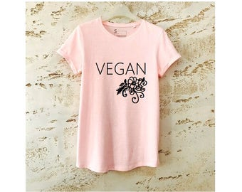 Vegan T-Shirt, Vegan Shirt, Vegan Clothing, Gift for Vegan, Vegan Gift, Womens Shirt, Womens T-Shirt, Rose Shirt