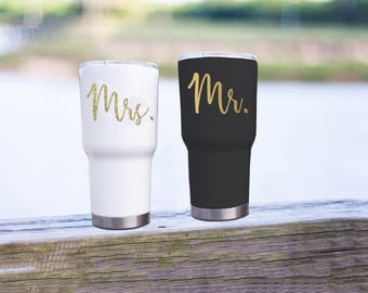 Mr. & Mrs. Decal for Yeti | Wine Glass Decal | His and Hers | Wedding Gifts | Bride Decal | Groom Decal | Honeymoon Gifts | Ozark Sticker