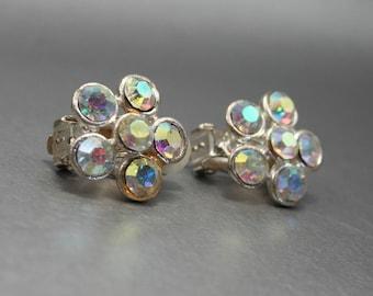 Sparkling Rhinestone Earrings, White Rhinestone Earrings, Rainbow Earrings, Clip-On Earrings, Rhinestone Clip-On, Flower Earrings