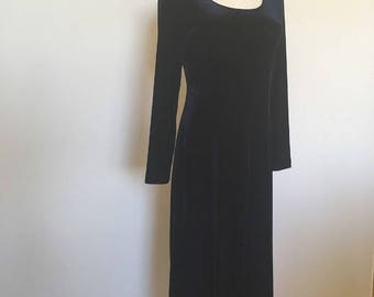 Vintage Blue Velvet Dress