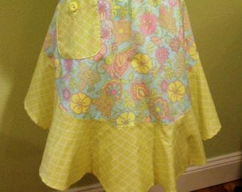 Half Apron - Spring Pastel Floral/Lattice Print