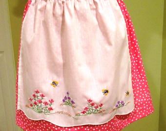 Half Apron - Floral / Pink Polka-Dot