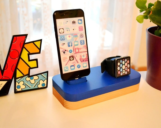 iphone charging station docking station gift Apple Watch charging station Apple Watch station stand IDOQQ due Blue Wood station iphone 5 to X