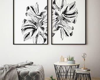 Botanical Print, Botanical Illustration, Botanical Art, Botanical Print Set, Print set, large leaf art, Leaf art, Plant wall art, Wall Art,