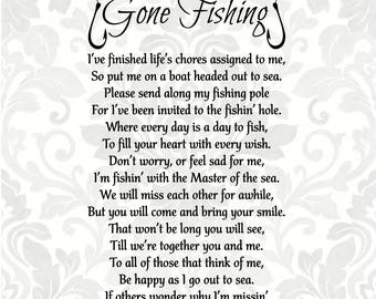 Gone Fishing Poem - Bereavement - Mourning - Sympathy - Grief - Funeral (SVG, EPS, PDF, Digital File Vector Graphic)
