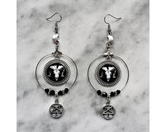 earrings hoops skull goat cameo inverted pentagram half moon silver baphomet lucifer satanic gothic occult esoteric pagan witch witchcraft