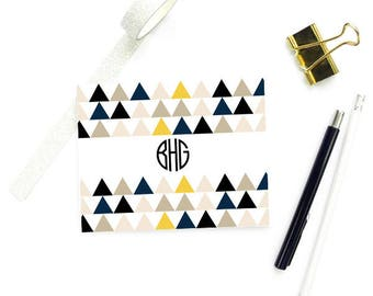 Geometric Stationary Notecards Set, Monogram FOLDED Cards, Geometric Note Cards Monogram Gifts for Women, SET of 10 Cards with Envelopes