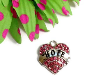 1 Pc Pink Hope Crystal Heart Pendant Charm - Rhinestone Cancer Jewelry