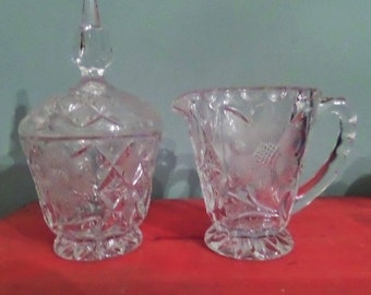 Vintage Cut Glass Creamer and Sugar Bowl with Lid