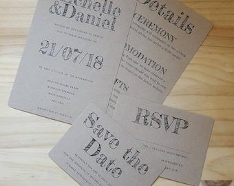 Invitation & RSVP, Rustic Wedding Stationery