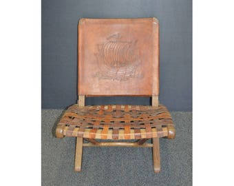 Mid Century Modern Peruvian Teak & Leather Folding Lounge Chair
