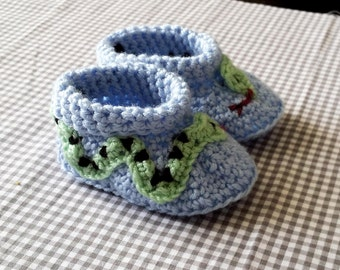 Handmade Baby Gift    Crochet Baby Booties   Snake Booties   Handmade   Baby Shower Gift   New Baby   Baby Boy   Baby Girl   Animal Theme