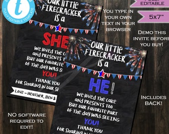 Firecracker Thank You Gender Reveal Party Chalkboard - Matching - Red White Blue 4th of July- July 4th - Baby Boy Girl INSTANT Self-EDITABLE