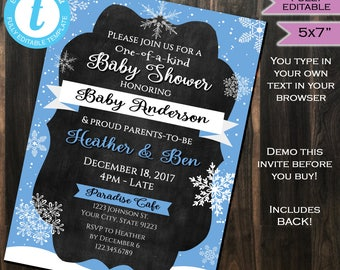 Winter Baby Shower Invitation Baby Sprinkle Snowflake One of a Kind Blue Baby Boy Invite Template Custom Printable INSTANT Self EDITABLE 5x7