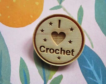 Craft Badge - Crochet Brooch - I Heart Crochet - I Love Crochet - Crochet Badge - Crochet - Badge - Ready to Ship